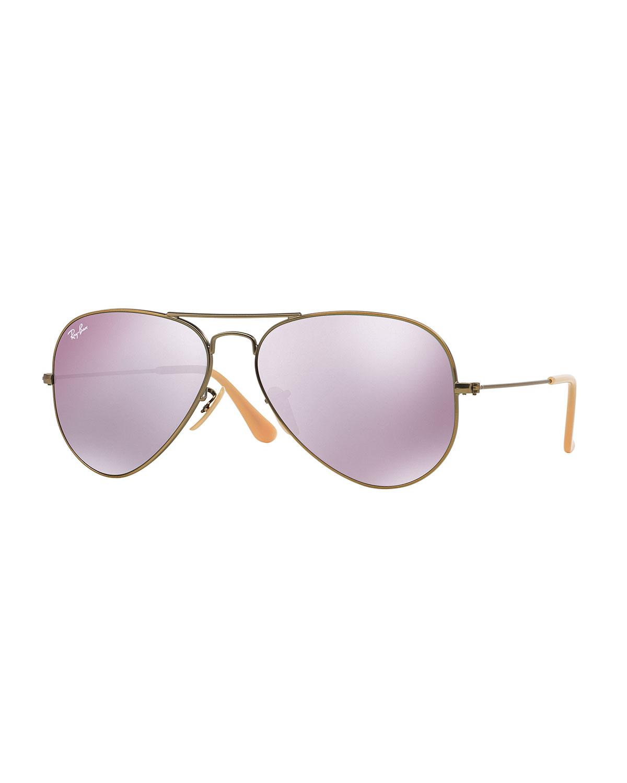 Ray-Ban Mirrored Aviator Sunglasses, Lilac   Neiman Marcus