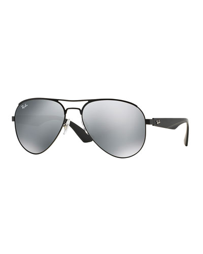 Aviator Sunglasses with Mirror Lens, Black