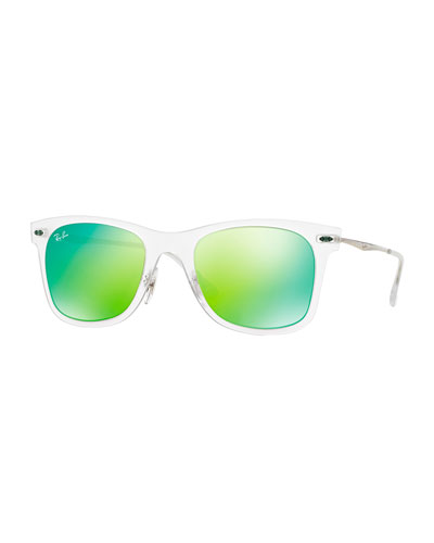 Wayfarer Mirror Matte Clear Sunglasses, Green