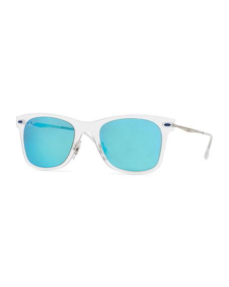 ray ban wayfarer turquoise  ray banwayfarer mirror matte clear sunglasses, turquoise