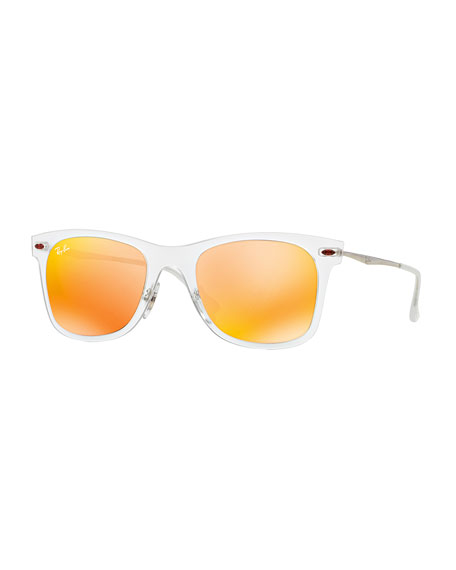 Wayfarer Mirror Matte Clear Sunglasses, Brown/Orange