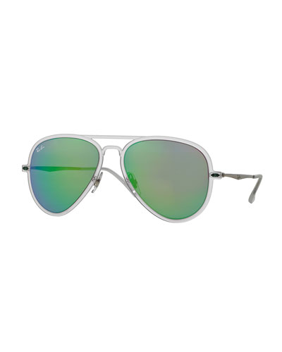 Mirror Matte Clear Aviator Sunglasses, Green