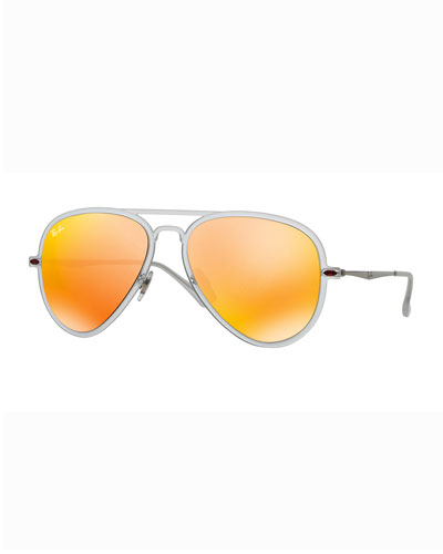 Mirror Matte Clear Aviator Sunglasses, Brown/Orange
