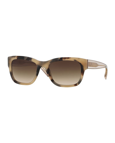 Rectangular Acetate Sunglasses, Horn/Clear