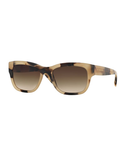 Rectangular Acetate Sunglasses, Brown/White