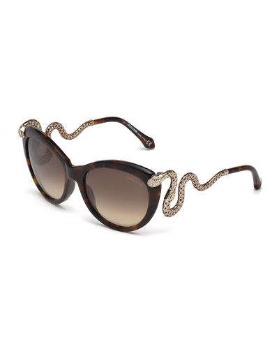 Snake-Temple Butterfly Sunglasses, Dark Brown
