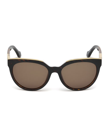 Rounded Butterfly Acetate Sunglasses, Havana Tortoise