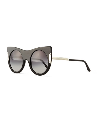 Round Sunglasses with Peaked Temples, Black