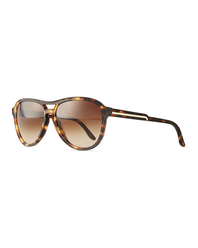 Acetate Aviator Sunglasses, Havana