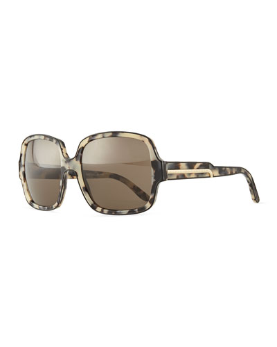 Acetate Rectangle Sunglasses, Black/Gray