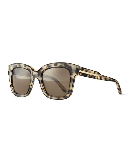 Stella McCartney Acetate Square Sunglasses, Black/Gray