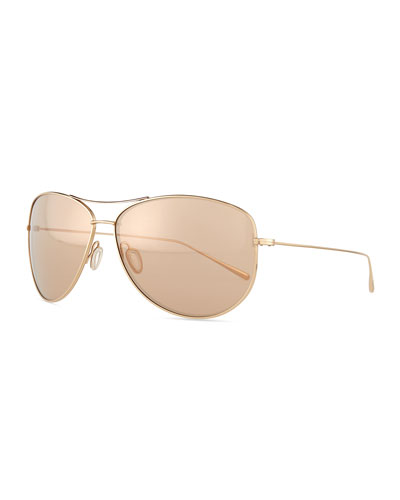 Kempner Mirror Aviator Sunglasses, Mauve
