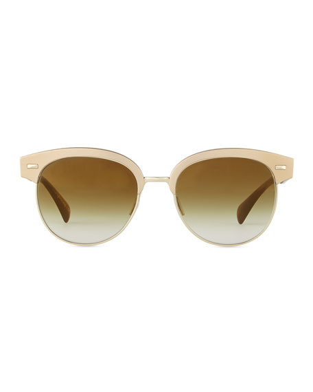 Shaelie Mirrored Semi-Rimless Sunglasses, Bronze