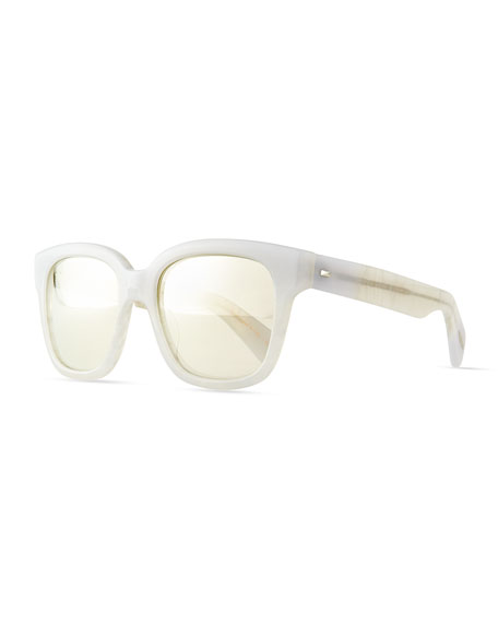Brinley Mirror Square Sunglasses, Pearl