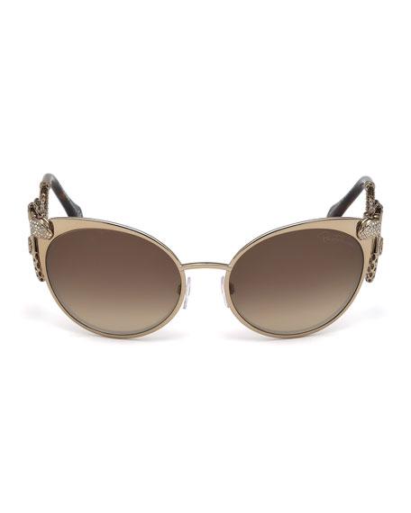 Snake-Temple Cat-Eye Sunglasses, Brown