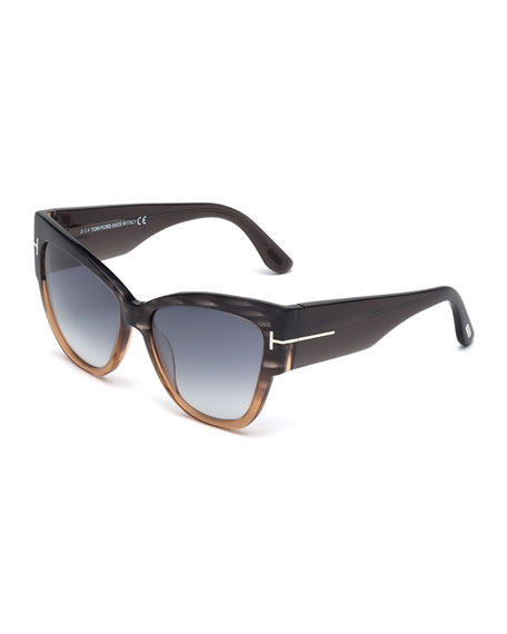 TOM FORD Anoushka Butterfly Sunglasses, Gray/Brown
