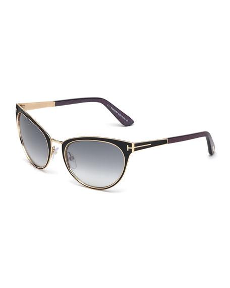 TOM FORD Nina Cat-Eye Sunglasses, Black