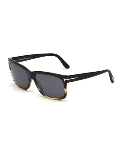 Barbara Polarized Rectangle Sunglasses, Black