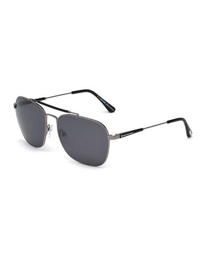 cea6768fa77 TOM FORD Edward Polarized Square Aviator Sunglasses