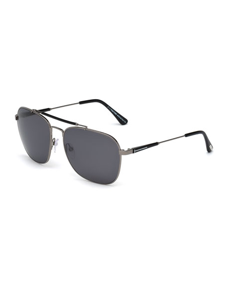TOM FORD Edward Polarized Square Aviator Sunglasses, Black/Gunmetal