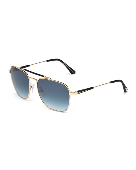 TOM FORD Edward Polarized Square Aviator Sunglasses, Black/Rose