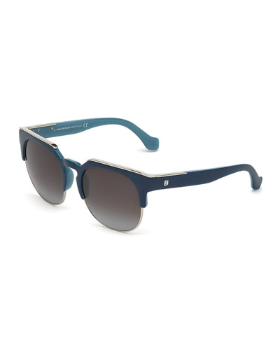 Semi-Rimless Square Sunglasses, Navy
