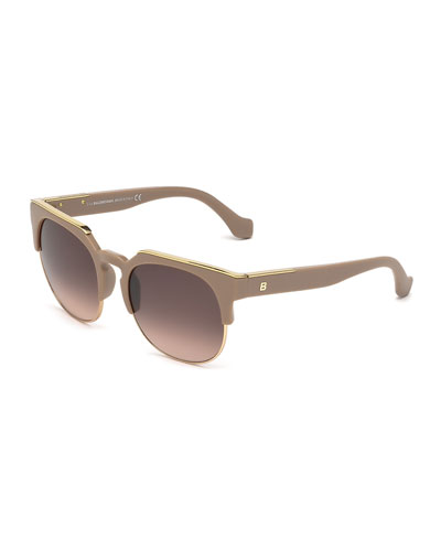Semi-Rimless Square Sunglasses, Antique Rose
