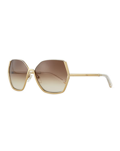 Universal Fit Danae Hexagon Butterfly Sunglasses, Gold/Silver