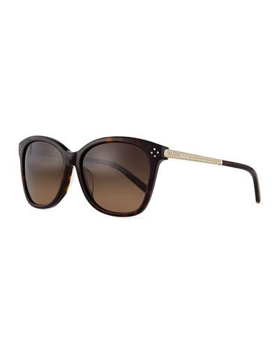 Boxwood Crystal-Arm Sunglasses, Havana