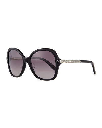 Boxwood Crystal-Arm Butterfly Sunglasses, Black