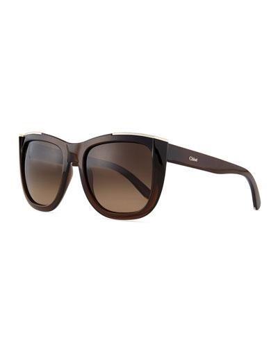 Dallia Crystal Arrow Square Sunglasses, Brown