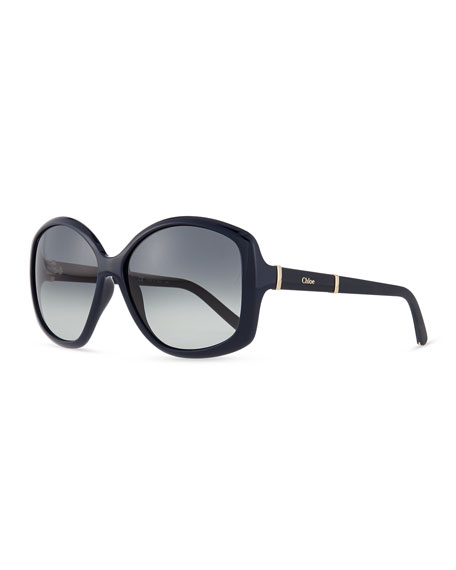 Daisy Oval Sunglasses, Navy