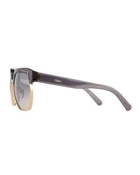 Universal Fit Dafne Mirrored Hexagonal Sunglasses, Dark Gray