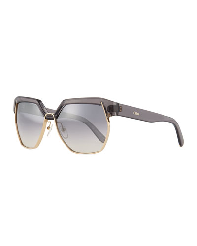 Universal Fit Dafne Mirrored Hexagonal Sunglasses, Dark Gray