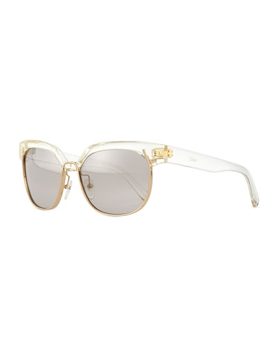Universal FIt Dafine Hexagonal Sunglasses, Crystal/Golden