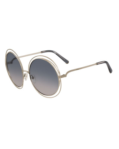Carlina Round Wire Metal Sunglasses, Rose Golden/Peach