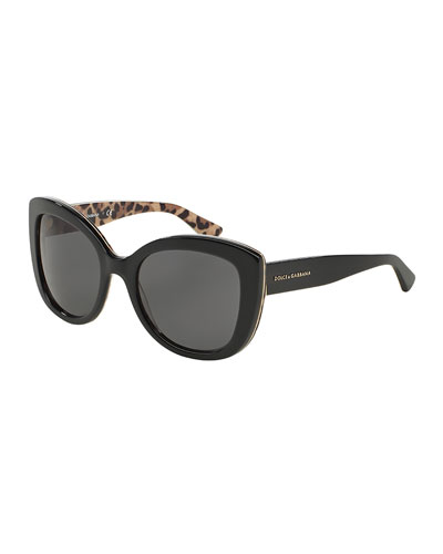 Acetate Butterfly Sunglasses, Black/Leopard