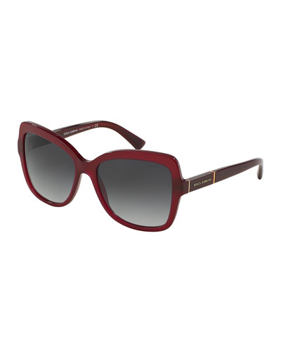 Acetate Butterfly Sunglasses, Bordeaux