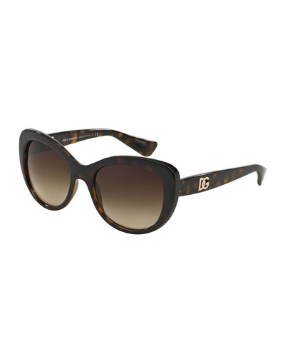 Round Cat-Eye Sunglasses, Havana Tortoise