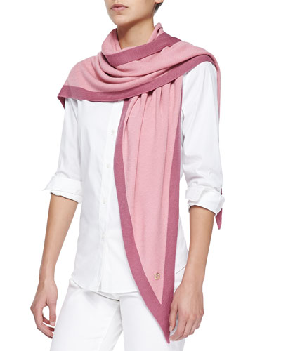 Summer Twice Knit Triangular Scarf, Pink