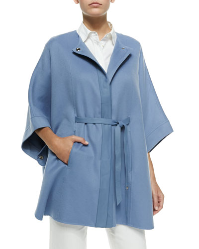 Margot Cashmere Belted Cape, Blue