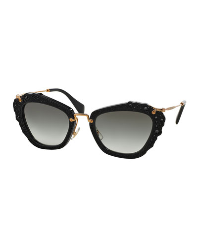 Jeweled Cat-Eye Acetate Sunglasses, Black