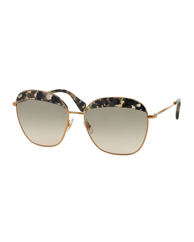 Marble-Brow Butterfly Sunglasses, Havana