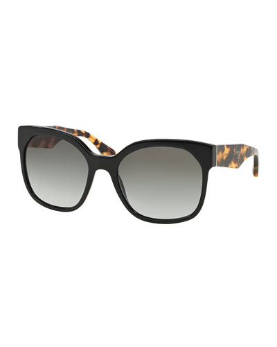 Square Sunglasses with Tortoise Arms, Black/Havana
