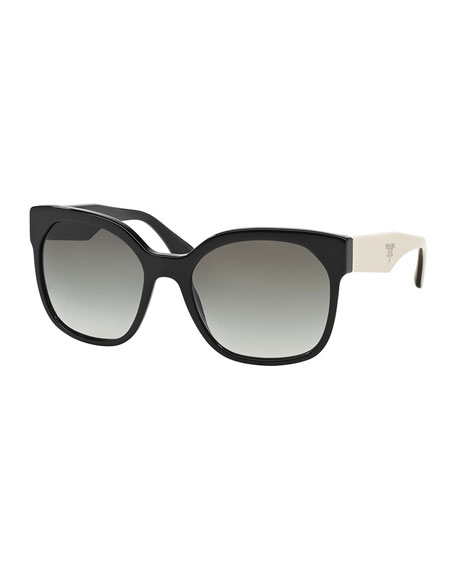 Square Sunglasses with Contrast Arms, Black