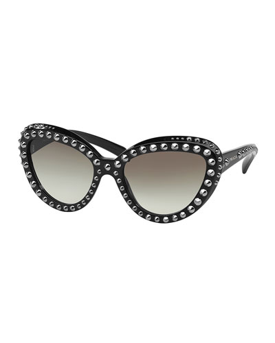 Cat-Eye Studded Sunglasses, Black