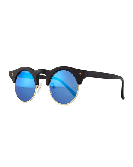 Corsica Mirrored Round Sunglasses, Black
