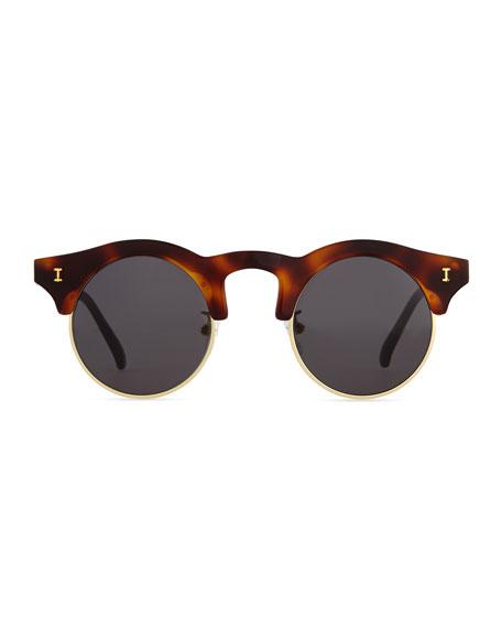 Corsica Mirrored Round Sunglasses, Havana