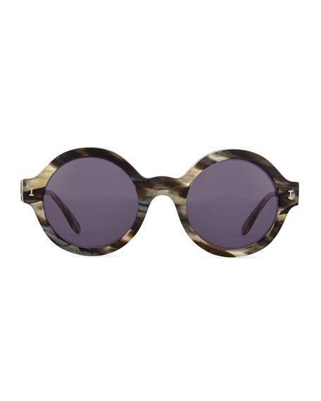 Frieda Round Sunglasses, Gray/Havana