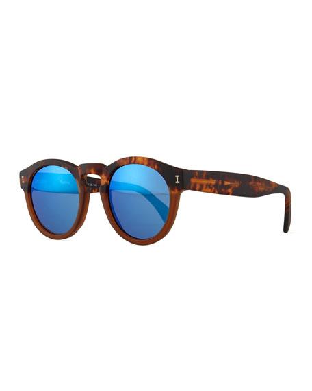 Illesteva Leonard Mirror Round Sunglasses, Havana